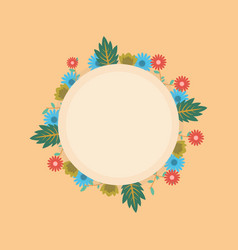 Flower spring of wreath frame vector