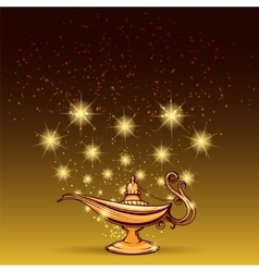 Gold glitters and aladdin lamp vector