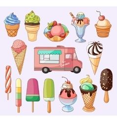 Ice creams collection vector image vector image