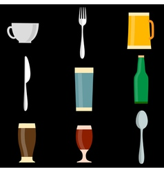 Icons of utensil objects vector