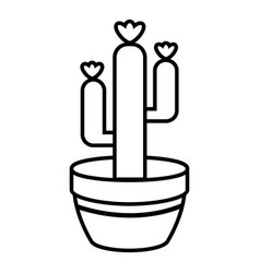 Large pot cactus icon outline line style vector