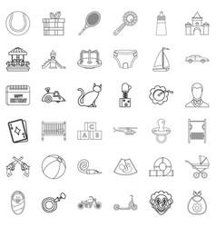 Newborn icons set outline style vector