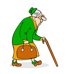 Old woman with cane and a bag vector