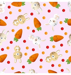 Rabbit and carrot on a pink background vector