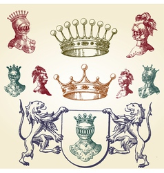 Royal heraldry icons vector image