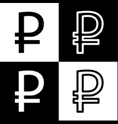Ruble sign black and white icons and line vector