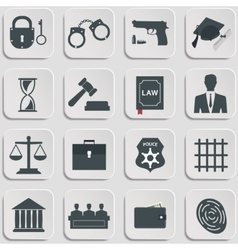 Set of law and justice flat icons vector image vector image