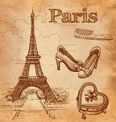 set of Paris symbols vector image