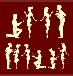 Silhouettes of men and girls set vector
