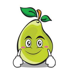 Smile face pear character cartoon vector