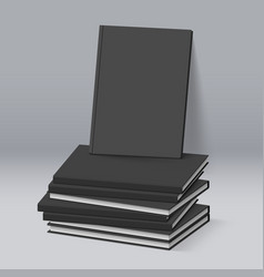 stack of blank black books business mockup vector image