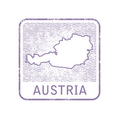 stamp with contour of map of austria vector image vector image