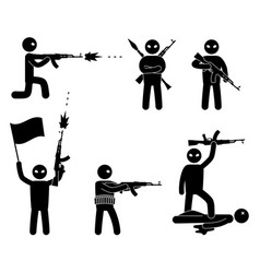 Terrorism concept set of terrorist people world vector