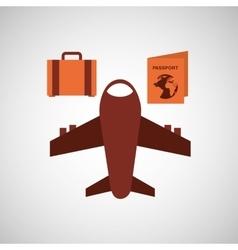travel airplane passport bag vector image vector image