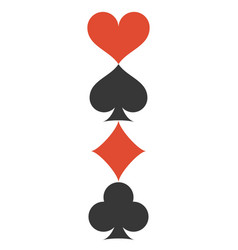 Vertical four playing cards suits symbols vector