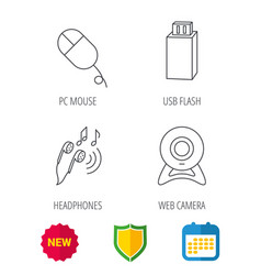 Web camera usb flash and pc mouse vector