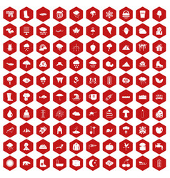 100 clouds icons hexagon red vector