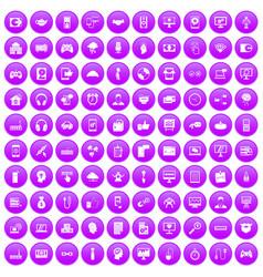 100 programmer icons set purple vector