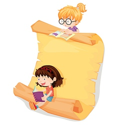 Girls and a paper sheet vector image