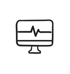 heart beat monitor sketch icon vector image