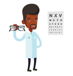 Professional ophthalmologist holding eyeglasses vector