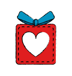 drawing red gift box heart love present vector image