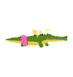 cute cartoon crocodile girl in pink skirt and vector image