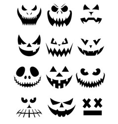 Collection of spooky halloween ghost and pumpkin vector