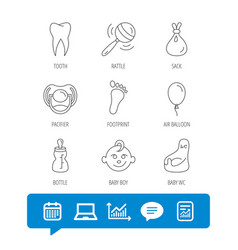 Pacifier baby boy and bottle icons tooth sign vector
