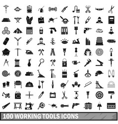 100 working tools icons set simple style vector