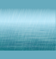 Water surface with wave and falling rain vector