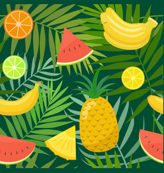 Seamless pattern of palm leaves and fruits vector