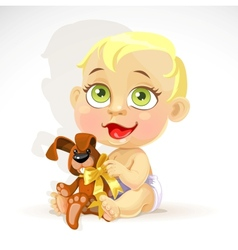 Little baby in a diaper with plush rabbit vector