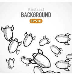 Rocket ship cartoon background vector