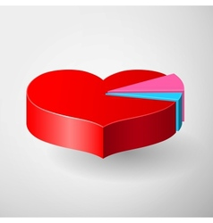 Valentines day infographics with heart pie diagram vector