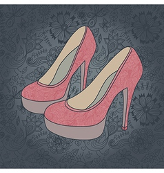 High-heeled vintage shoes with flowers fabric vector