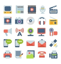 Media and communication flat icons vector