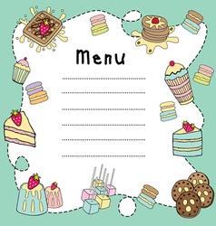 Bakery doodle menu board vector