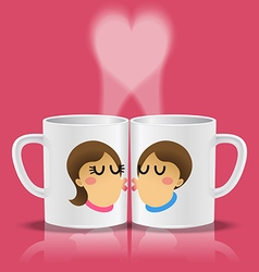 White cups with loving couple kissing vector