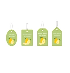 Design labels with ripe juicy pear vector