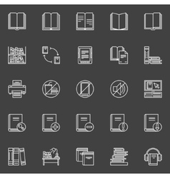 Library linear icons set vector