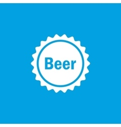 Beer cap icon white vector