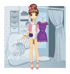 Girl With Dress Near Fitting Room vector image