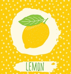 Lemon hand drawn sketched fruit with leaf on vector