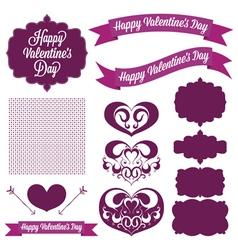 Vintage elements valentines day vector