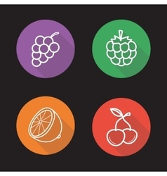 Berries and fruit flat linear icons set vector
