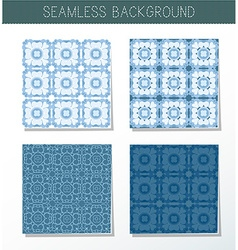 Four beautiful blue seamless ornament vector image