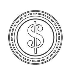 Dollar sign coin icon line design vector