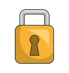 Security yellow padlock isolated flat icon vector