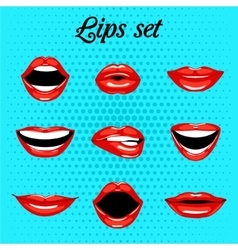Set of red kissing and smiling cartoon mouth vector